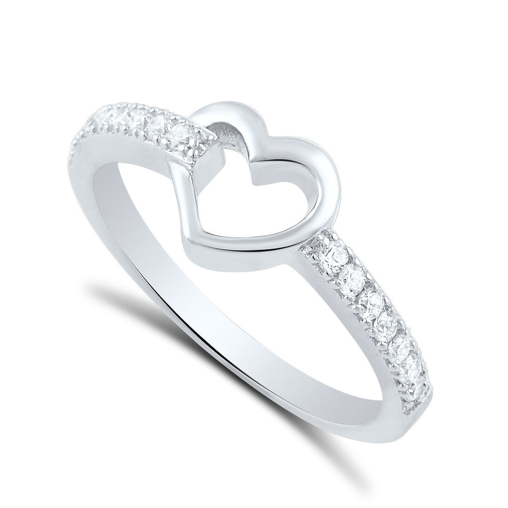 Sterling Silver Simulated Diamond Hollow Heart Ring  2.5mm - SilverCloseOut - 1