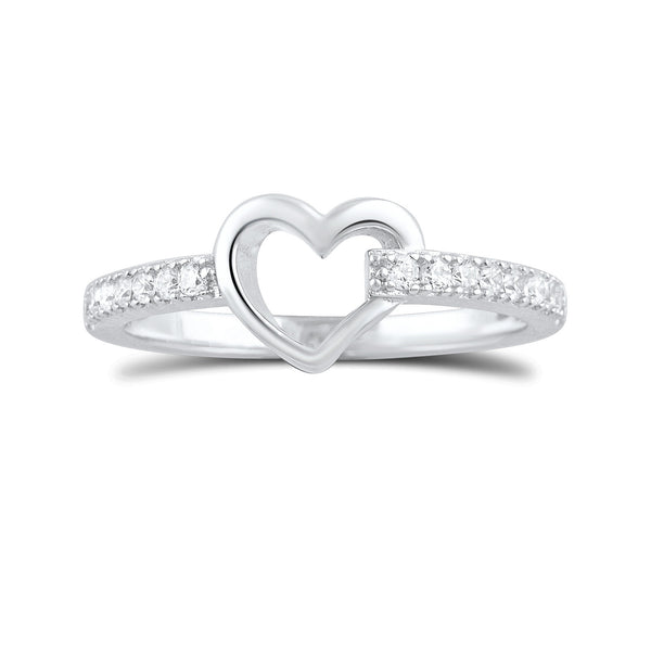 Sterling Silver Simulated Diamond Hollow Heart Ring  2.5mm - SilverCloseOut - 3