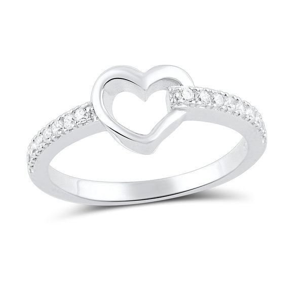 Sterling Silver Simulated Diamond Hollow Heart Ring  2.5mm - SilverCloseOut - 2