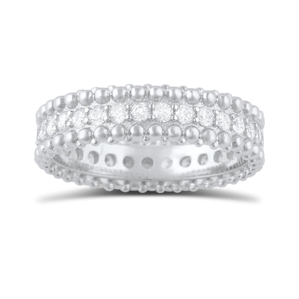 Sterling Silver Simulated Diamond Beaded Eternity Ring - SilverCloseOut - 2