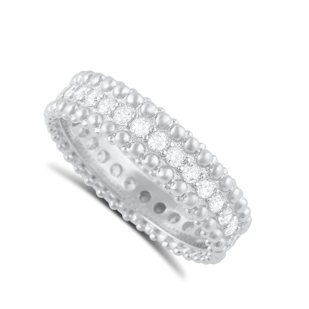 Sterling Silver Simulated Diamond Beaded Eternity Ring - SilverCloseOut - 1