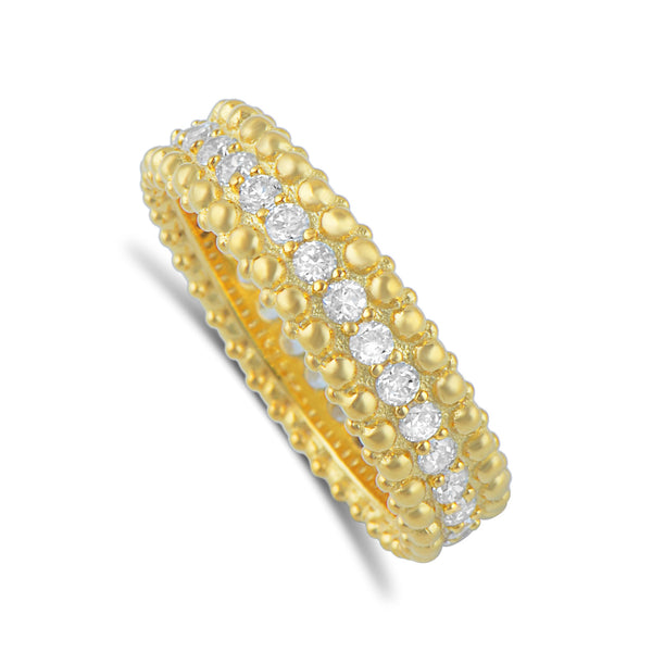 Gold Tone Sterling Silver Simulated Diamond Beaded Eternity Ring - SilverCloseOut - 2