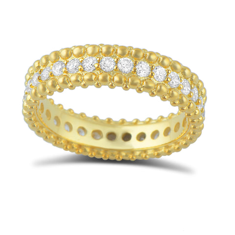 Gold Tone Sterling Silver Simulated Diamond Beaded Eternity Ring - SilverCloseOut - 1