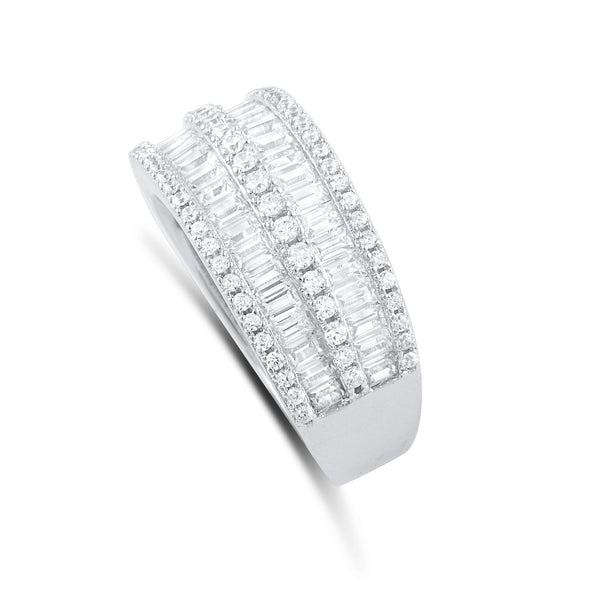Sterling Silver Simulated Diamond Baguette Cut Statement Ring - SilverCloseOut - 2
