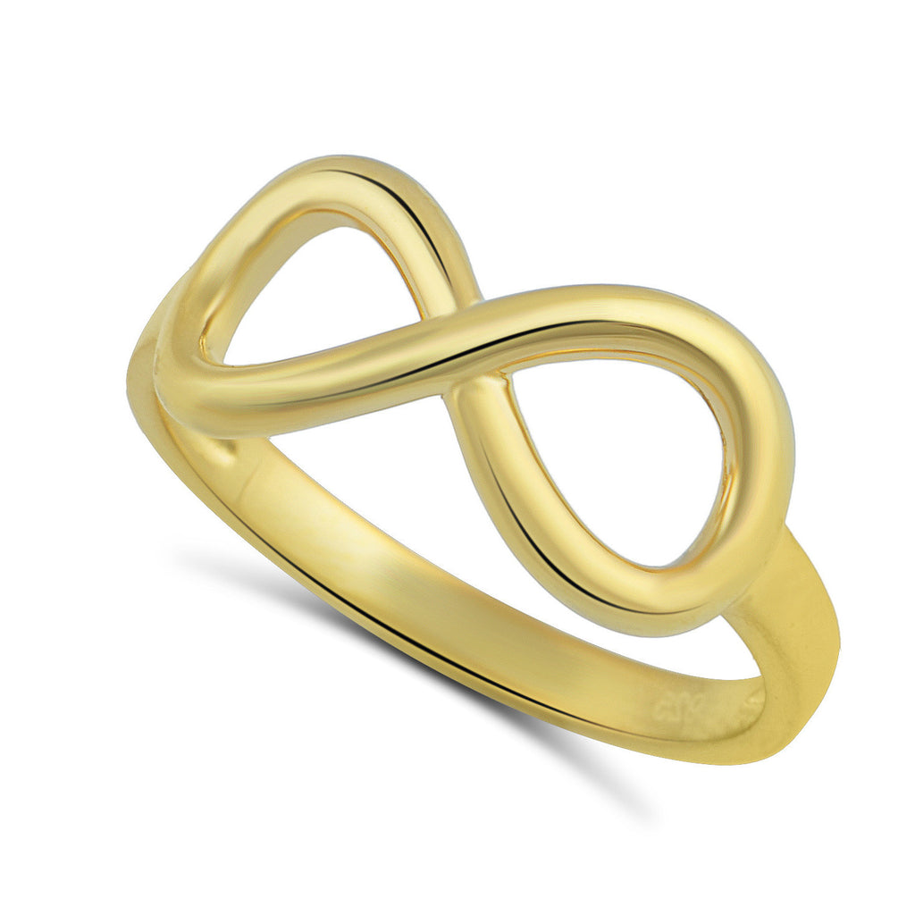 Yellow Gold Tone Sterling Silver Infinity Stackable Ring  2mm - SilverCloseOut - 1
