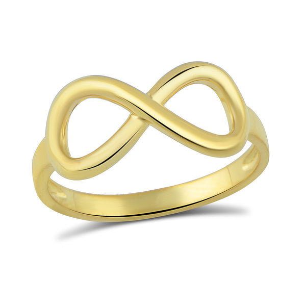Yellow Gold Tone Sterling Silver Infinity Stackable Ring  2mm - SilverCloseOut - 2