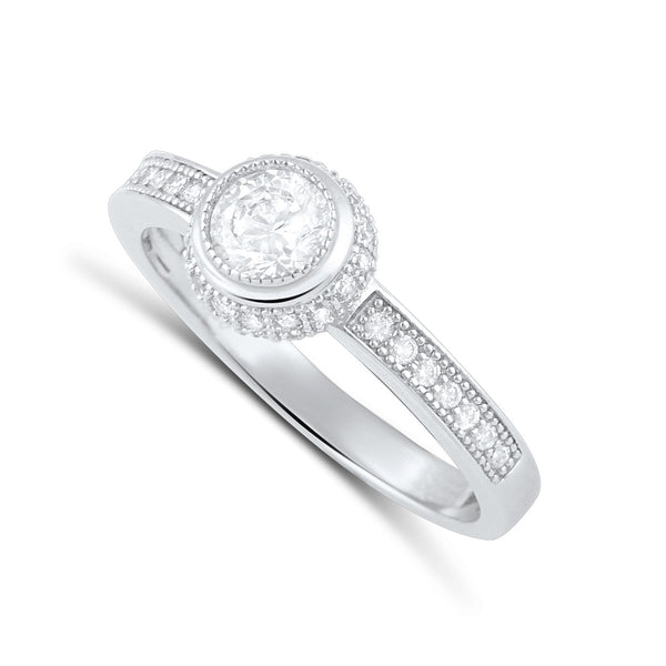 Sterling Silver Simulated Diamond Victornia Solitaire Ring - SilverCloseOut - 2