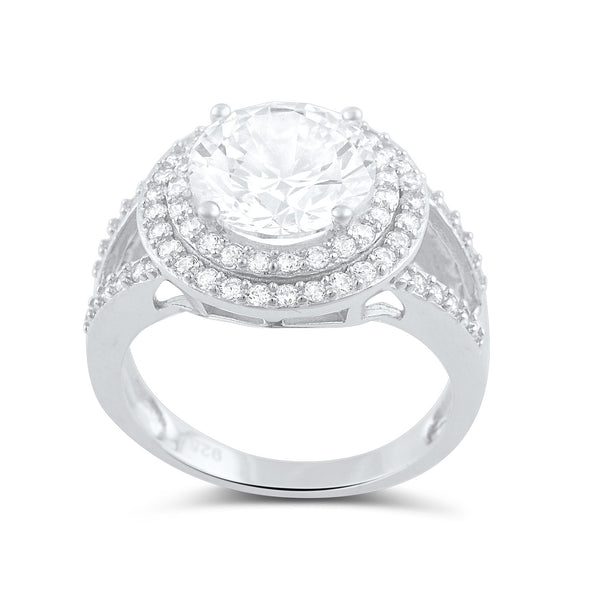 Sterling Silver Cz Big Halo Statement Ring - SilverCloseOut - 3
