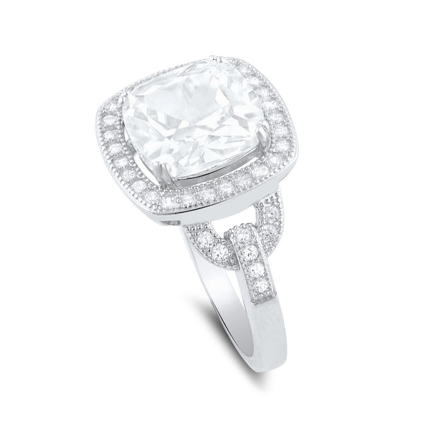 Sterling Silver Square Cz Big Halo Statement Ring - SilverCloseOut - 3