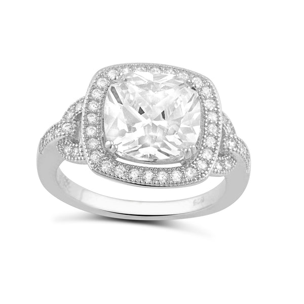 Sterling Silver Square Cz Big Halo Statement Ring - SilverCloseOut - 1