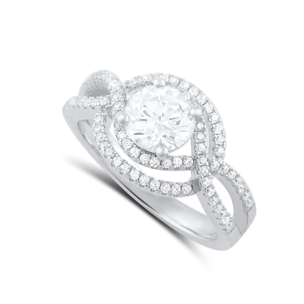 Sterling Silver Cz Fancy Solitaire Ring - SilverCloseOut - 1