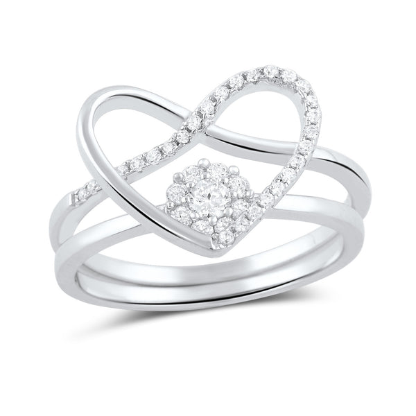 Sterling Silver Two Piece Heart & Halo Ring - SilverCloseOut - 2