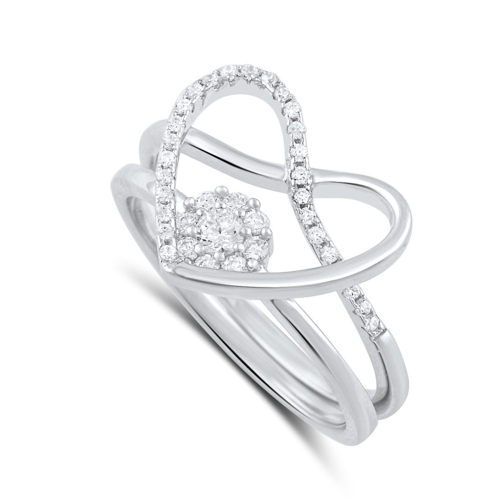 Sterling Silver Two Piece Heart & Halo Ring - SilverCloseOut - 1