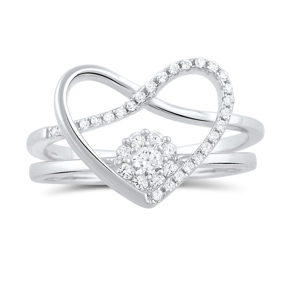 Sterling Silver Two Piece Heart & Halo Ring - SilverCloseOut - 3