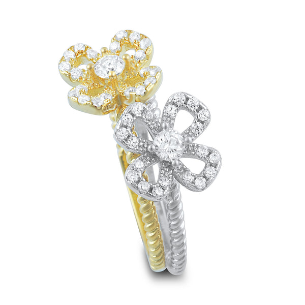 Two Tone Sterling Silver Cz Stackable Flower Ring - SilverCloseOut - 3