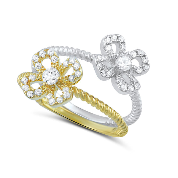 Two Tone Sterling Silver Cz Stackable Flower Ring - SilverCloseOut - 2