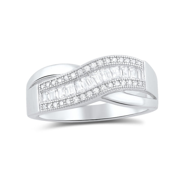 Sterling Silver Baguette Cz Wave Statement Ring - SilverCloseOut - 3