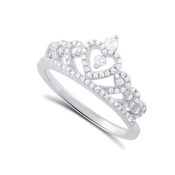 Sterling Silver Cz Heart Crown Ring - SilverCloseOut - 1