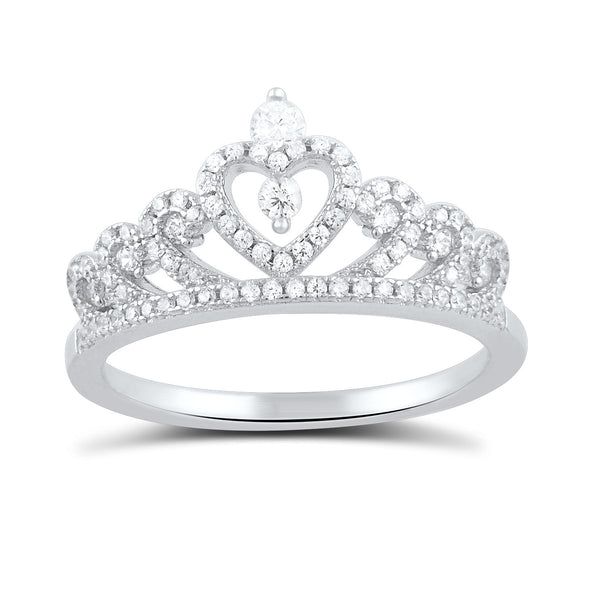 Sterling Silver Cz Heart Crown Ring - SilverCloseOut - 2