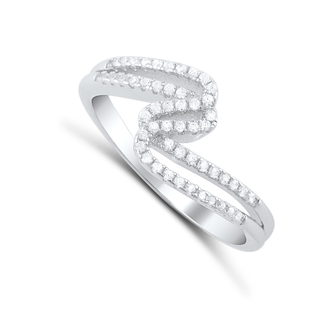 Sterling Silver Cz Zig zag Thread Ring - SilverCloseOut - 1