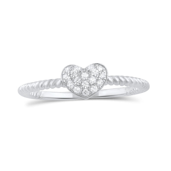 Sterling Silver Cz Stackable Rope Heart Ring - SilverCloseOut - 2