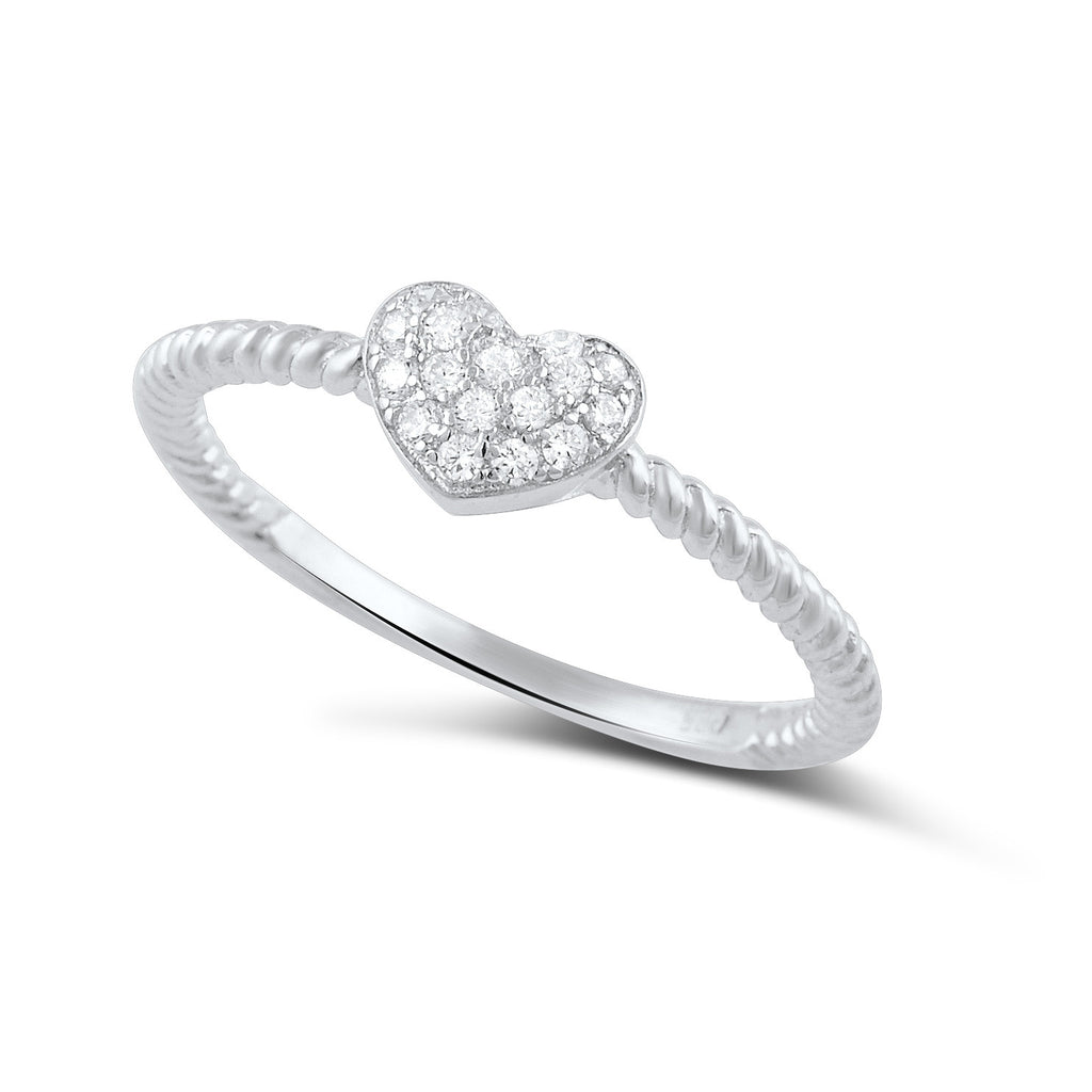 Sterling Silver Cz Stackable Rope Heart Ring - SilverCloseOut - 1
