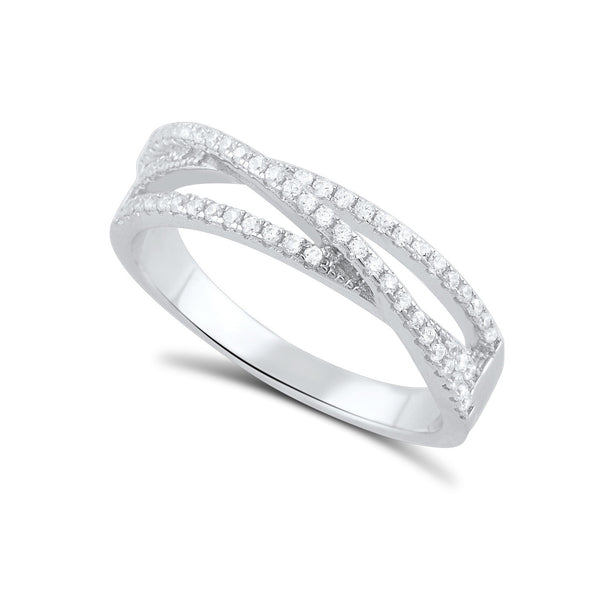 Sterling Silver Cz Wrap Around Thread Ring - SilverCloseOut - 1