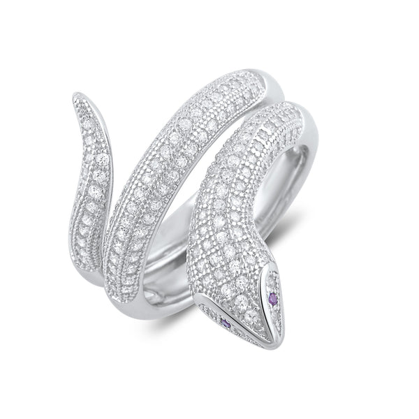 Sterling Silver Simulated Diamond Wrap Around Snake Ring - SilverCloseOut - 2