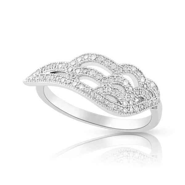Sterling Silver Cz Wing Ring - SilverCloseOut - 2