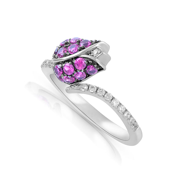Sterling Silver Simulated Ruby Rose Ring - SilverCloseOut - 2