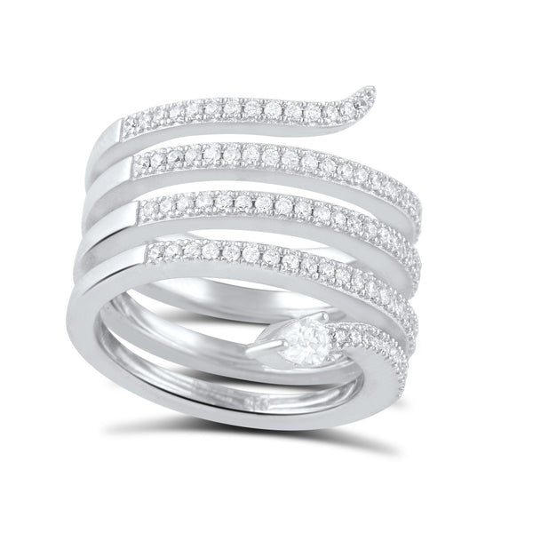 Sterling Silver Cz Wide Wrap Around Multi Row Snake Ring - SilverCloseOut - 2