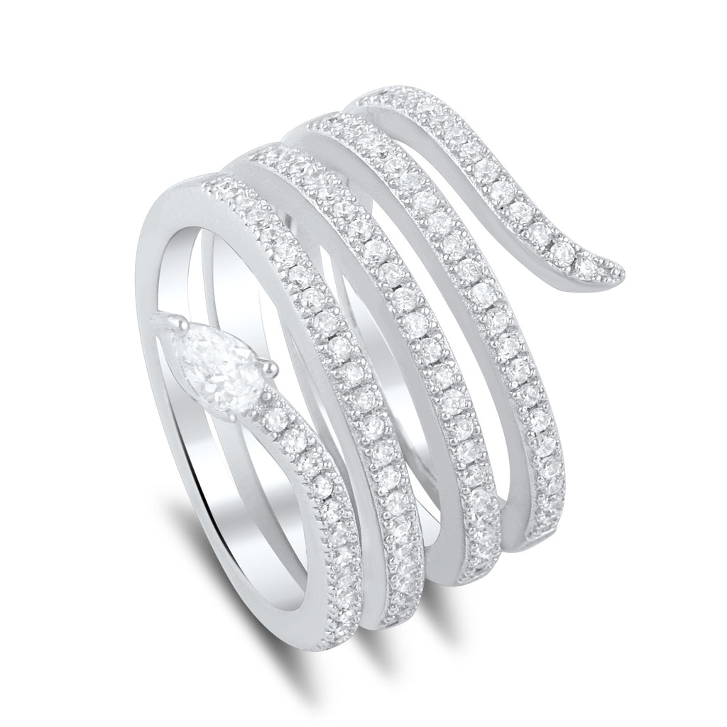 Sterling Silver Cz Wide Wrap Around Multi Row Snake Ring - SilverCloseOut - 1