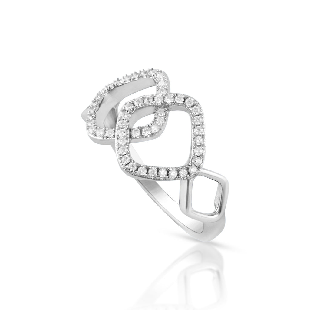 Sterling Silver Cz Interlocking Sqaure Ring - SilverCloseOut - 1