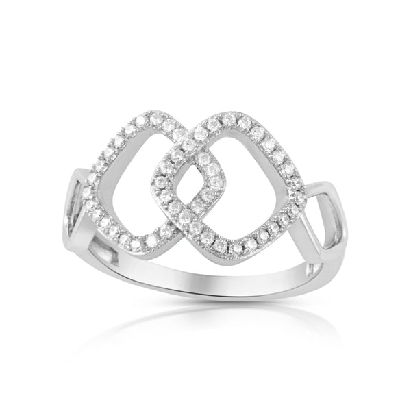 Sterling Silver Cz Interlocking Sqaure Ring - SilverCloseOut - 2
