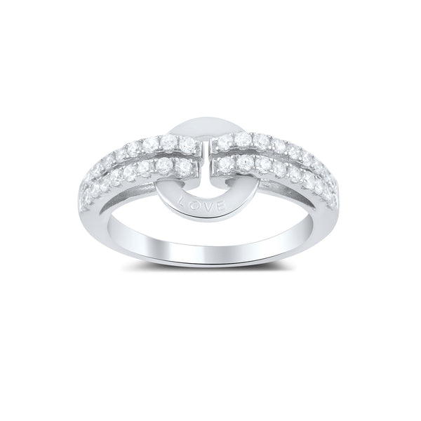 Sterling Silver Cz Circle of Love Statement Ring - SilverCloseOut - 1