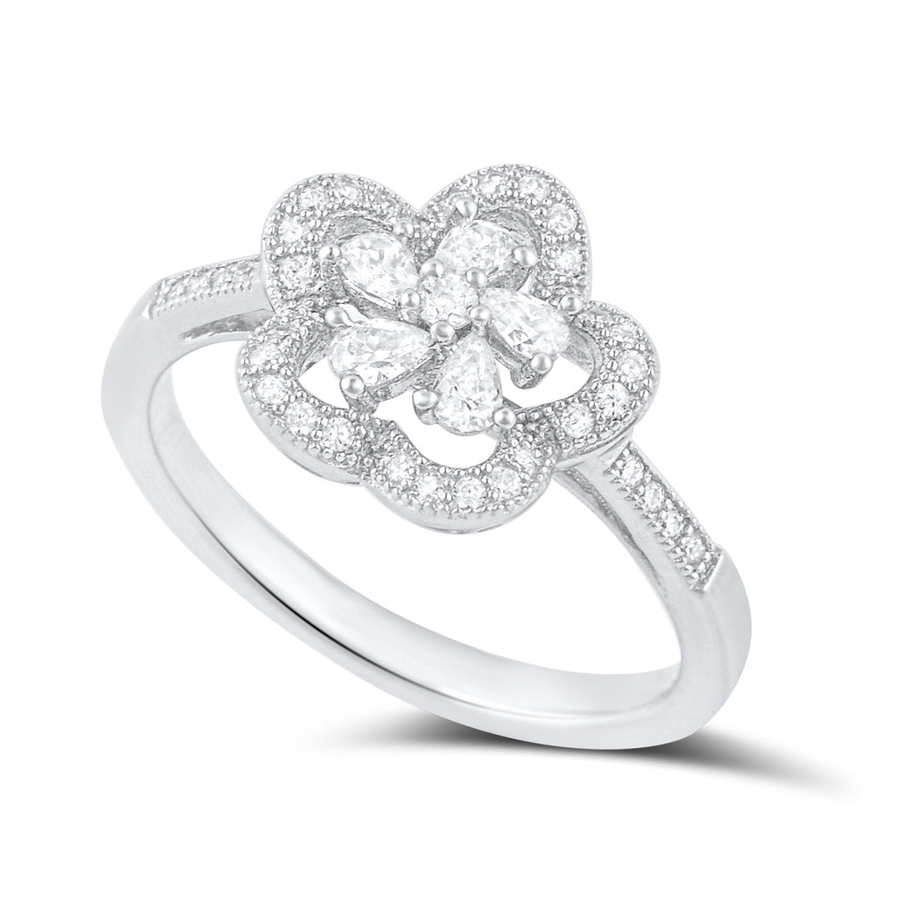 Sterling Silver Cz Abstract Halo Flower Ring - SilverCloseOut - 1
