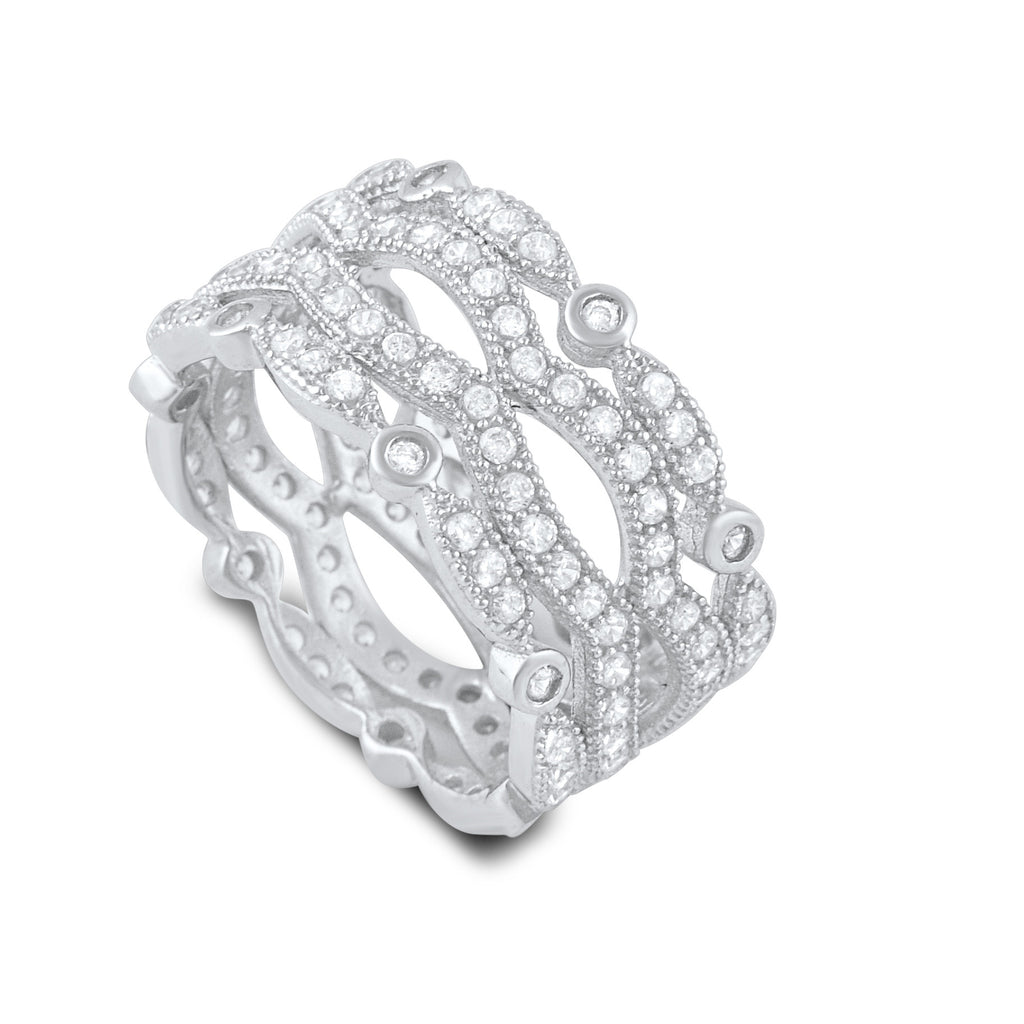 Sterling Silver Cz Wide Stacked Statement Ring - SilverCloseOut - 1