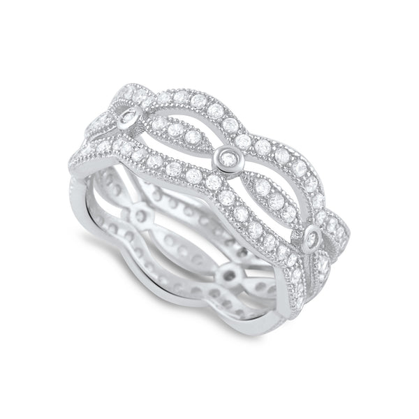 Sterling Silver Simulated Diamond Multi-Row Eternity Ring - SilverCloseOut - 1
