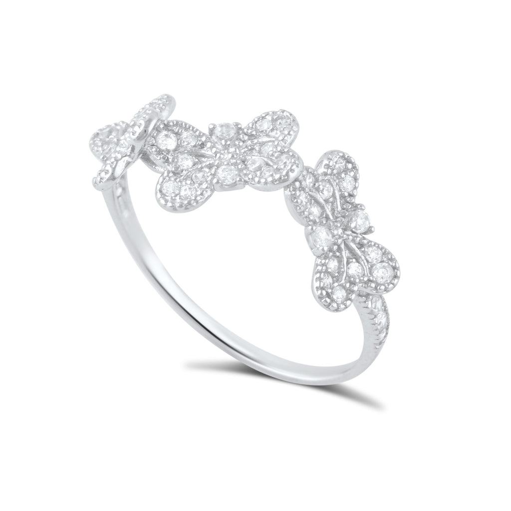Sterling Silver Cz Stackable Butterflies Ring - SilverCloseOut - 1