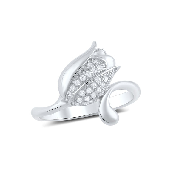 Sterling Silver Cz Tulip Flower Ring - SilverCloseOut - 2