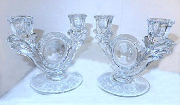 "Elegant Glass - Duncan Miller - First Love - Double Light Candleholders - 7 1/4"" x 5 3/4"""