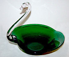 "Elegant Glass - New Martinsville - Huge Emerald Green Swan 13"" Long x 10 1/2"" High"