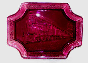 "EAPG - A A Importing - Replica Railroad Platter - Amethyst 9"" x 11"""