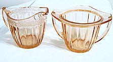 Depression Glass - Jeannette - Adam - Pink Sugar & Creamer Set
