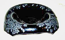 Elegant Glass - Paden City - Ardith - Black Amethyst - Square Bowl 10 1/2""