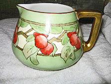 "Bernardaud & Co - Cider / Lemonade Pitcher 5 3/4"" - Hand Painted - Apples - Limoges"
