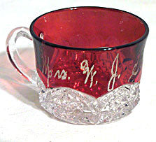 Ruby Stained Button Arches - Souvenir Cup - Mrs. W.J.K.