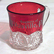 Ruby Stained Button Arches - Souvenir Mug - Titusville, Pa