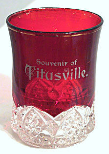 Ruby Flashed Button Arches - Souvenir of Titusville - Tumbler