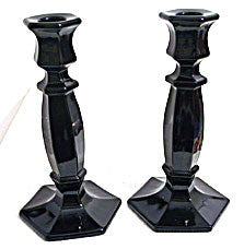 Co-operative Flint -  Black Candlesticks  - Pair